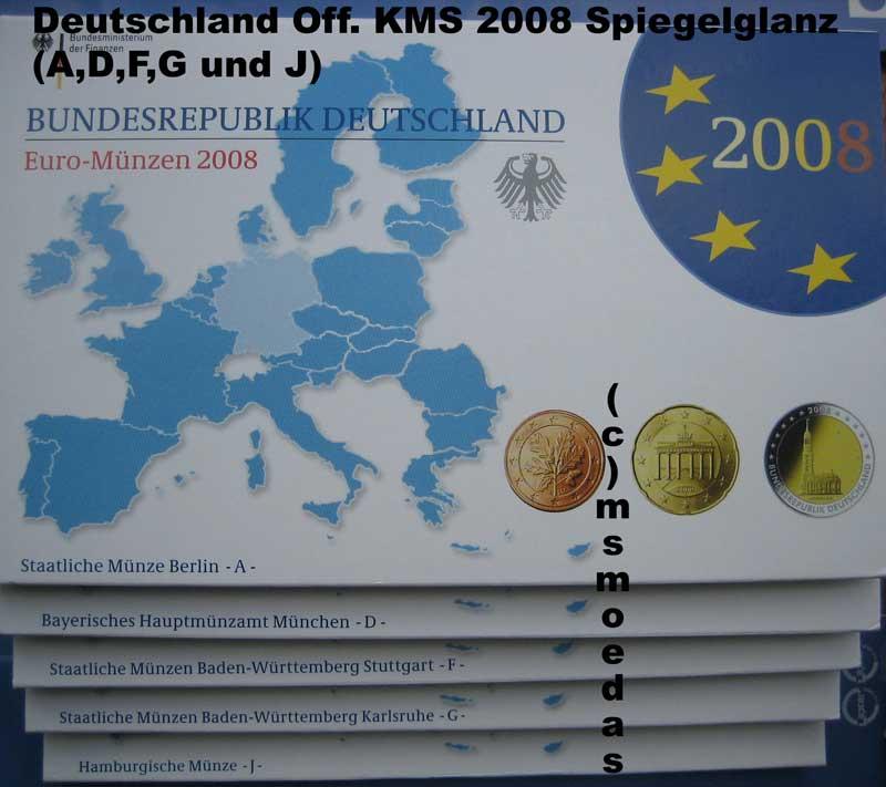 Msmoedas Deutschland Offizieller Kursmünzensatz 2008 Adfgj 1