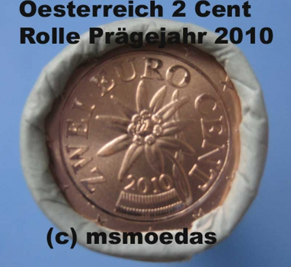 msmoedas oesterreich 2 cent rolle 2010. Black Bedroom Furniture Sets. Home Design Ideas