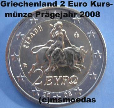 Msmoedas Griechenland 2 Euro Kursmünze 2008