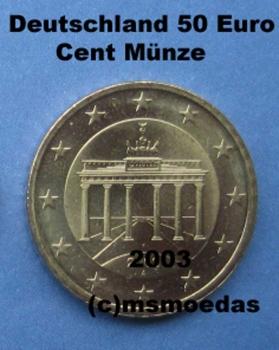 Msmoedas Deutschland 50 Cent Euromünze Prägejahr 2003 München D