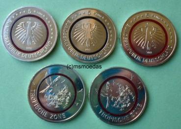 Msmoedas Deutschland Set 5 X 5 Euro Sondermünzen Stempelglanz