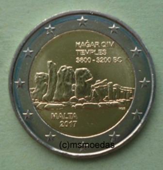 Malta 2 Euro Gedenkmünze 2017 Hagar Qim Tempel