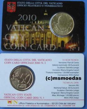Msmoedas Vatikan 50 Cent Prägejahr 2010 Fdc Stempelglanz