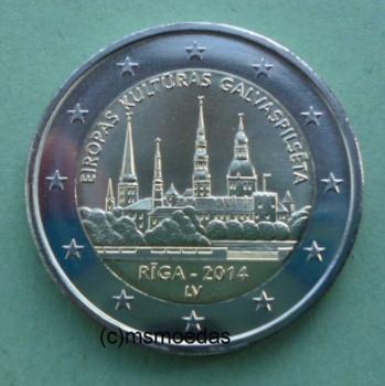 Msmoedas Lettland 2 Euro Jahr 2014 Euromünze Gedenkmünze Riga
